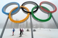 Picture snow, complex Laura, fog, winter, Sochi 2014, Russia, skiers, The Olympic rings, bottom, the sky, ...