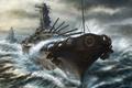 Picture paint, ships, storm, kashi takahisa, art, cruiser, sea, battleship, gun