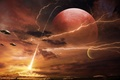 Picture ray, zipper, planet, ships, mountains, art, UFO, fire