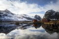 Picture mountains, nature, lake, Norway, Lofoten, The Huts of the Selfjord