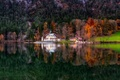 Picture autumn, reflection, Bayern, the lake house