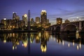 Picture reflection, bridge, Minneapolis, home, lights, lights, river, USA