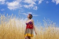 Picture summer, the sky, girl, face, dress, walk