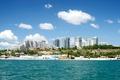 Picture The black sea, Ukraine, home, trees, coast, beach, Odessa, the sky, clouds