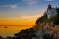 Picture sea, rock, boat, house, lighthouse, the sky, sunset