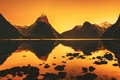 Picture hills, sunrise, river, mountain, reflection, Morning Stillness, New Zealand, mountains, hill, water