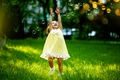 Picture girl, joy, laughter, bubbles, childhood, grass, girls