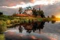 Picture Russia, temple, river, Ivanovo oblast, sunset