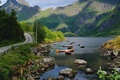 Picture boats, lake, mountains, Norway, Nordland County, stones