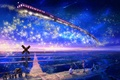 Picture sign, field, art, motorcycle, night, train, railroad, stars, boy, girl, in the sky, inz, observation, ...