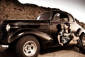 Picture vintage, car and girl, vingage car and girl, car, hot girl
