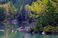 Picture stones, lake, mountains, trees, autumn, forest