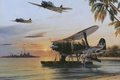 Picture palm trees, ship, art, WW2, seaplane, shore, water, Navy, Japanese, the sun, the sky, aircraft