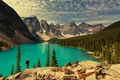 Picture Canada, Moraine, lake, Banff National park, lake, forest, landscape