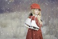 Picture winter, forest, eyes, look, snow, branches, nature, children, face, pose, Park, background, mood, child, portrait, ...