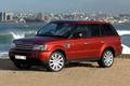 Picture jeep, red, Land Rover, Land Rover, Range Rover, shore, the city, Sport, wave, Range Rover, ...