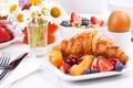 Picture Breakfast, cakes, fruit, berries, growing, breakfast, croissant