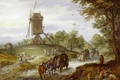 Picture road, people, picture, wagon, Jan Brueghel the elder, Landscape with a Windmill
