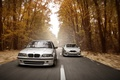 Picture speed, Stance Works, road, BMW, lights, E39, autumn, forest, E46