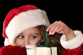 Picture eyes, look, red, children, background, holiday, gift, Wallpaper, hat, new year, blue, girl, christmas, new ...