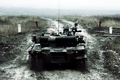 Picture dirt, combat, T-80, tank, lights, main