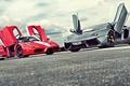 Picture road, lights, door, ferrari enzo, hypercar, Lamborghini LP700-4 Aventador