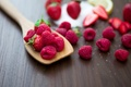 Picture raspberry, background, widescreen, Wallpaper, food, strawberry, berry, spoon, wallpaper, widescreen, background, full screen, HD wallpapers, ...