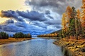 Picture morning, clouds, dawn, river, autumn, forest