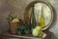 Picture still life, Taz, basket, bottle, pear