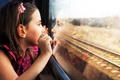 Picture stupor, Child, train, wonder, girl, reflection, mood, baby, looking, tracks