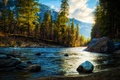 Picture mountains, river, forest, nature