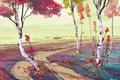Picture painted landscape, birch, autumn, art, trees