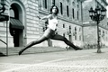 Picture shorts, dance, girl, jump, the city