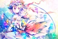 Picture hat, flowers, crystals, wings, art, touhou, girl, riichu, flandre scarlet