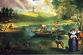 Picture forest, the sky, clouds, landscape, river, boat, rainbow, picture, fisherman, Edouard Manet