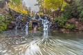 Picture Park, VA, waterfall, trees, the bushes, moss, leaves, autumn, stones, USA