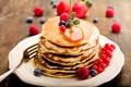 Picture berries, raspberry, food, blueberries, honey, plate, pancakes, currants, pancakes, pancakes