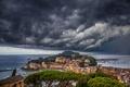 Picture sea, the sky, clouds, coast, building, Italy, panorama, Bay, Italy, The Ligurian sea, Cape, Italian ...