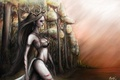 Picture look, Dryad, trees, water, girl, dryad, long hair, the sky, horns, forest