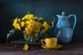 Picture dandelions, Cup, books, still life, saucer
