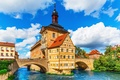Picture bridge, Germany, Bayern, Germany, Bamberg, town hall, Bavaria, City Hall, the river Regnitz, Bamberg, Regnitz ...