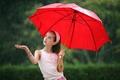 Picture girl, umbrella, rain, red
