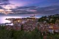 Picture sea, sunset, coast, building, panorama, Piran, Slovenia, Slovenia, The Adriatic sea, Adriatic Sea, Piran, Piran ...