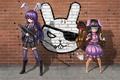 Picture gun, wall, game, graffiti, soldier, dress, weapon, smile, anime, red eyes, short hair, animal, sniper, ...