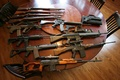 Picture weapons, table, guns, assault rifles, machines, sniper rifle