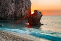 Picture sea, rocks, sunset