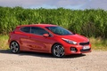 Picture three doors, pro Ceed, LF65 UZK, hatchback, drives, Red, sports, side, road, red, beautiful, KIA, ...