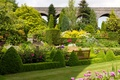 Picture flowers, garden, trees, the bushes, Kilver Court Gardens, UK, benches, grass, design