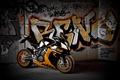 Picture wall, bike, motorcycle, Supersport, supersport, rc8 r, black, ktm, black, graffiti