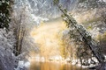 Picture Frost, river, mountains, winter